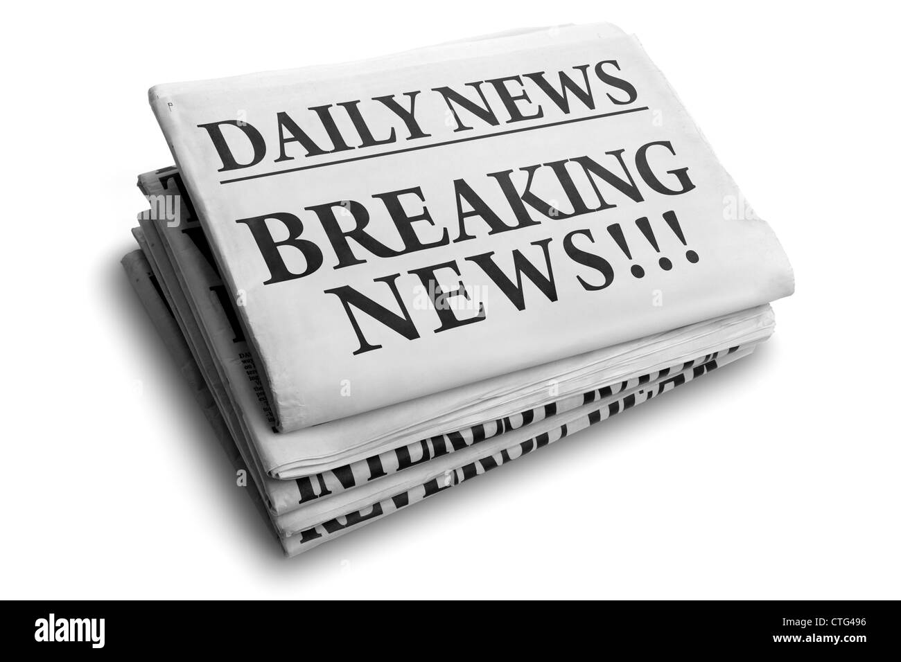 Breaking news daily newspaper headline - Stock Image