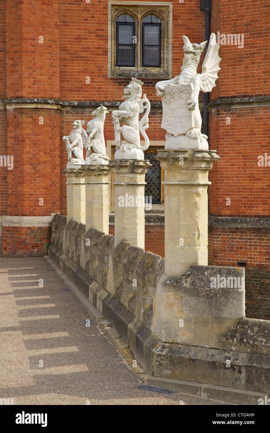 Heraldic Statues at the main entrance of Hampton Court Palace, London, Surrey, England, UK, United Kingdom, GB, - Stock Image