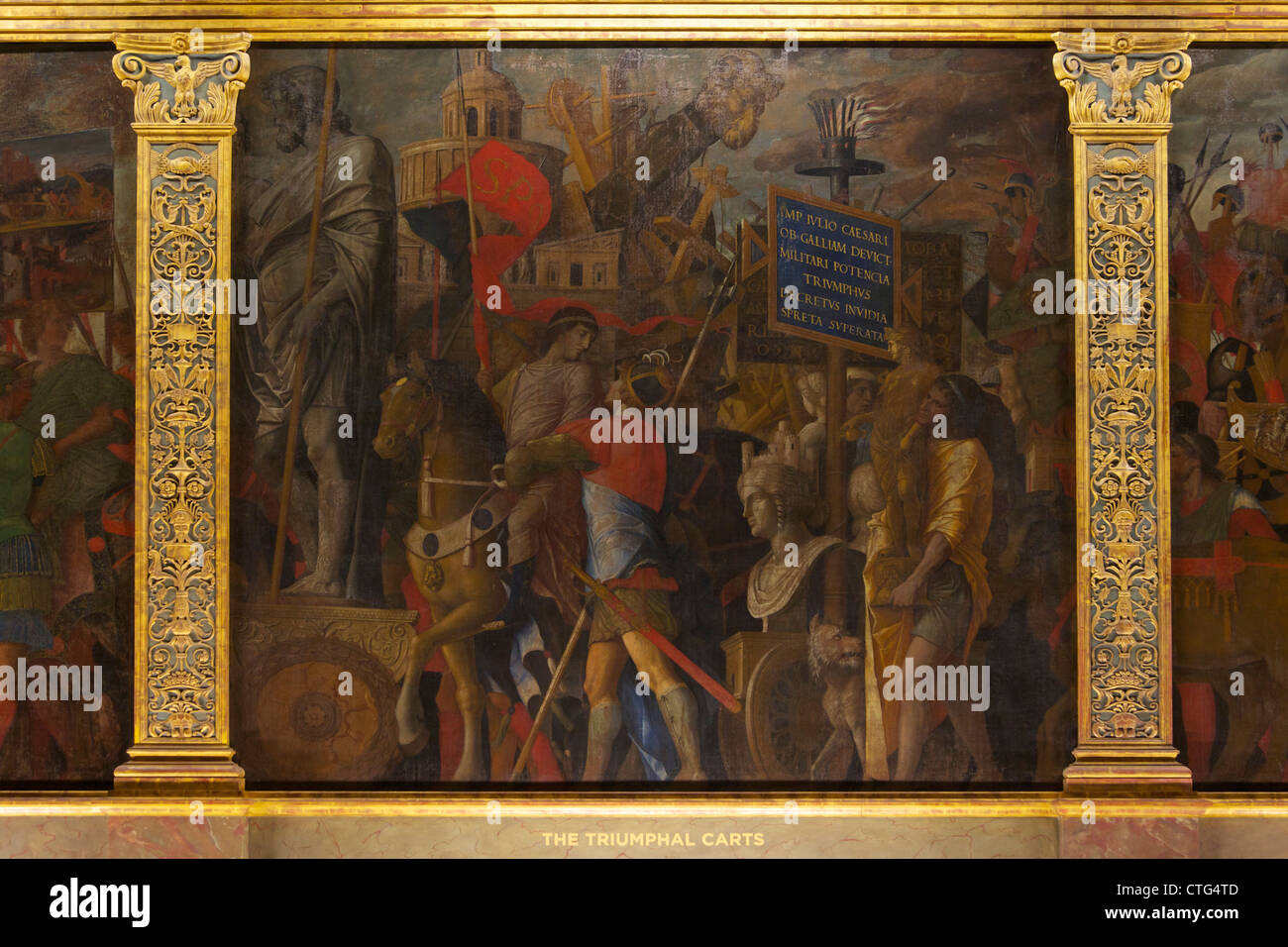 Triumphal Carts, from the Triumphs of Caesar, by Andrea Mantegna, - Stock Image