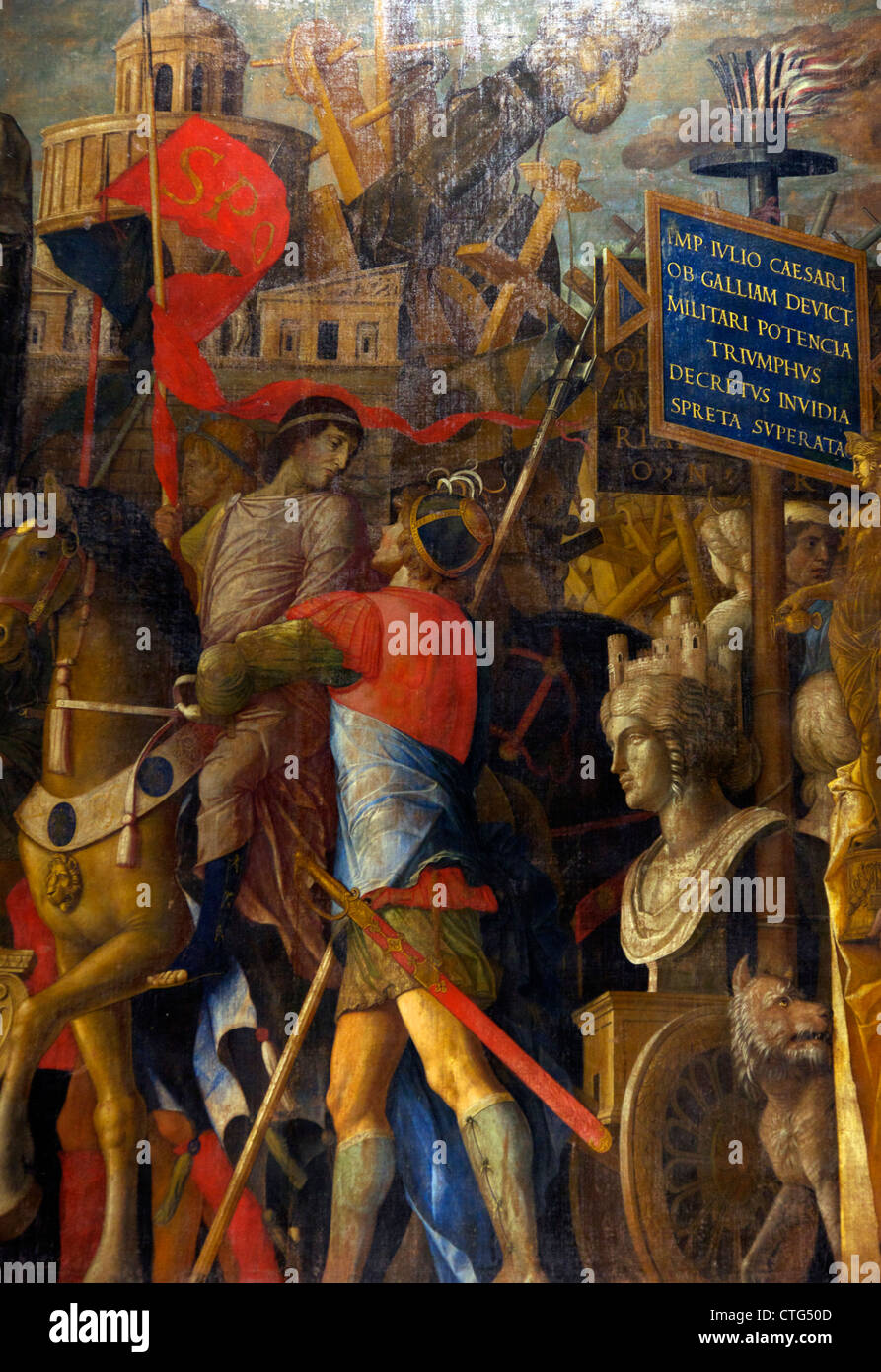 Detail from Triumphal Carts, from the Triumphs of Caesar, by Andrea Mantegna, - Stock Image