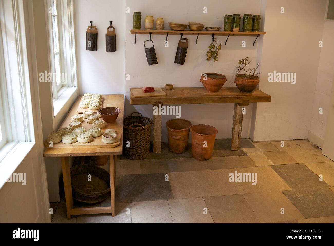 Kitchens of Henry VIII, Hampton Court Palace, London, Surrey, England, UK, United Kingdom, GB, Great Britain, British - Stock Image