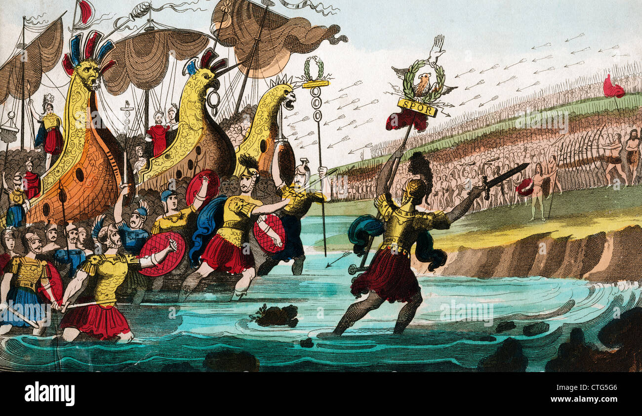 JULIUS CAESAR AND ROMAN TROOP SHIPS LANDING IN GREAT BRITAIN 55 B.C. - Stock Image