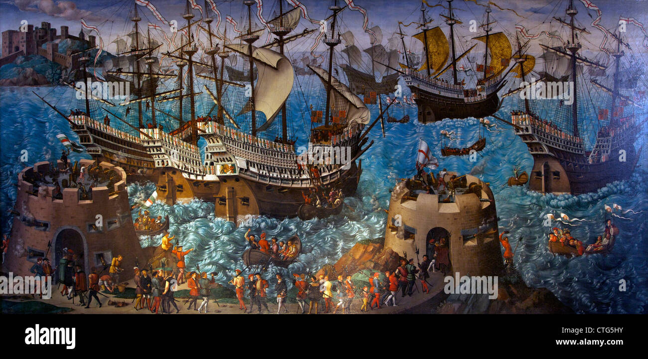 Embarkation at Dover, circa 1545, unknown artist, - Stock Image