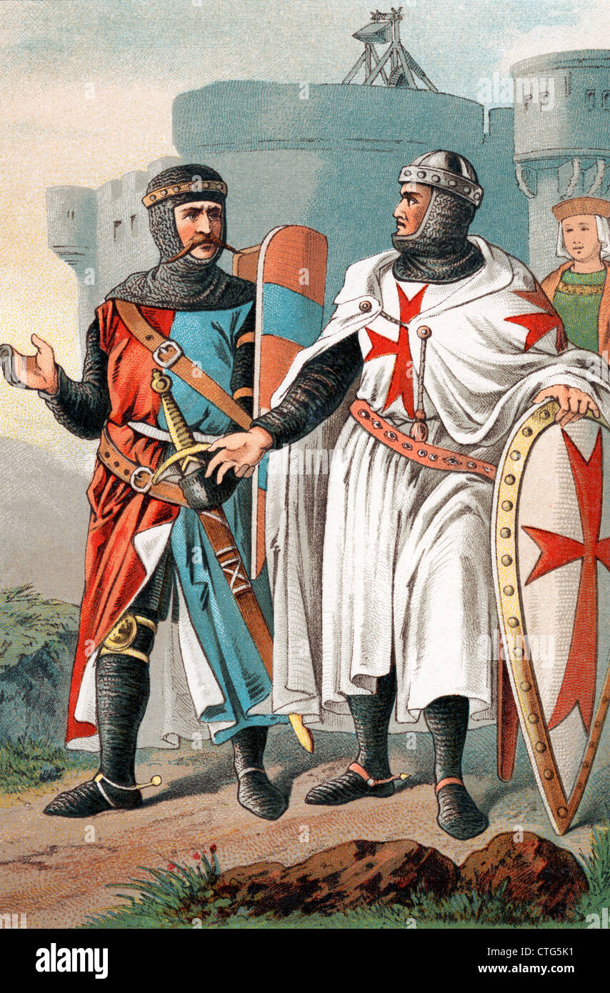 TWO KNIGHTS OF MALTA WEARING ARMOUR FROM DAYS OF THE MEDIEVAL CRUSADES RED MALTESE CROSS OF HOSPITALERS - Stock Image