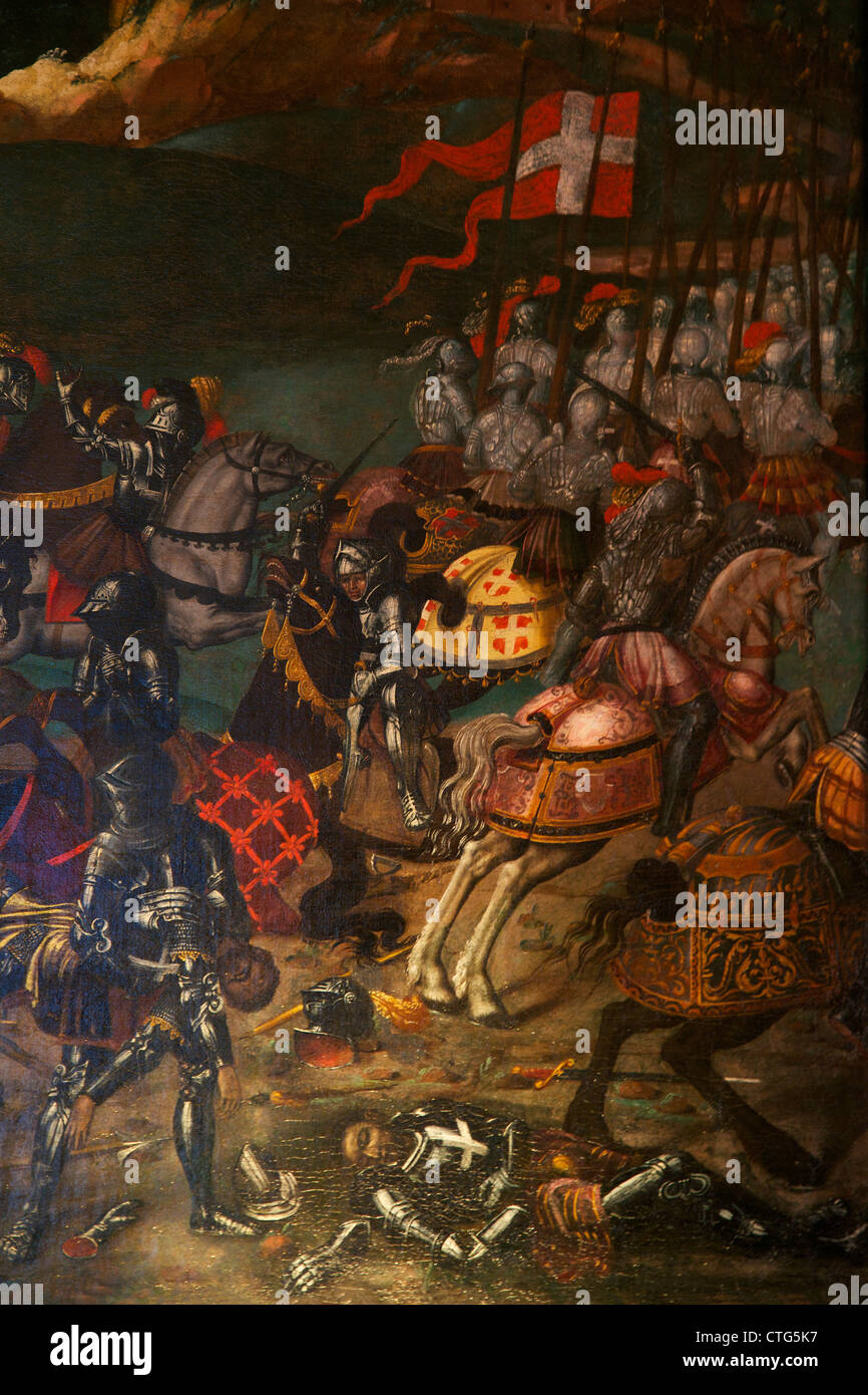 Detail of the Battle of the Spurs, circa 1513, unknown artist, - Stock Image