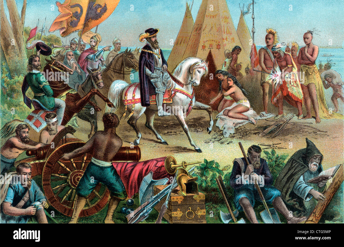 1500s SPANISH EXPLORER HERNANDO DE SOTO DISCOVERING THE MISSISSIPPI RIVER 1541 NATIVE AMERICANS IN TEPEES ENGRAVING - Stock Image