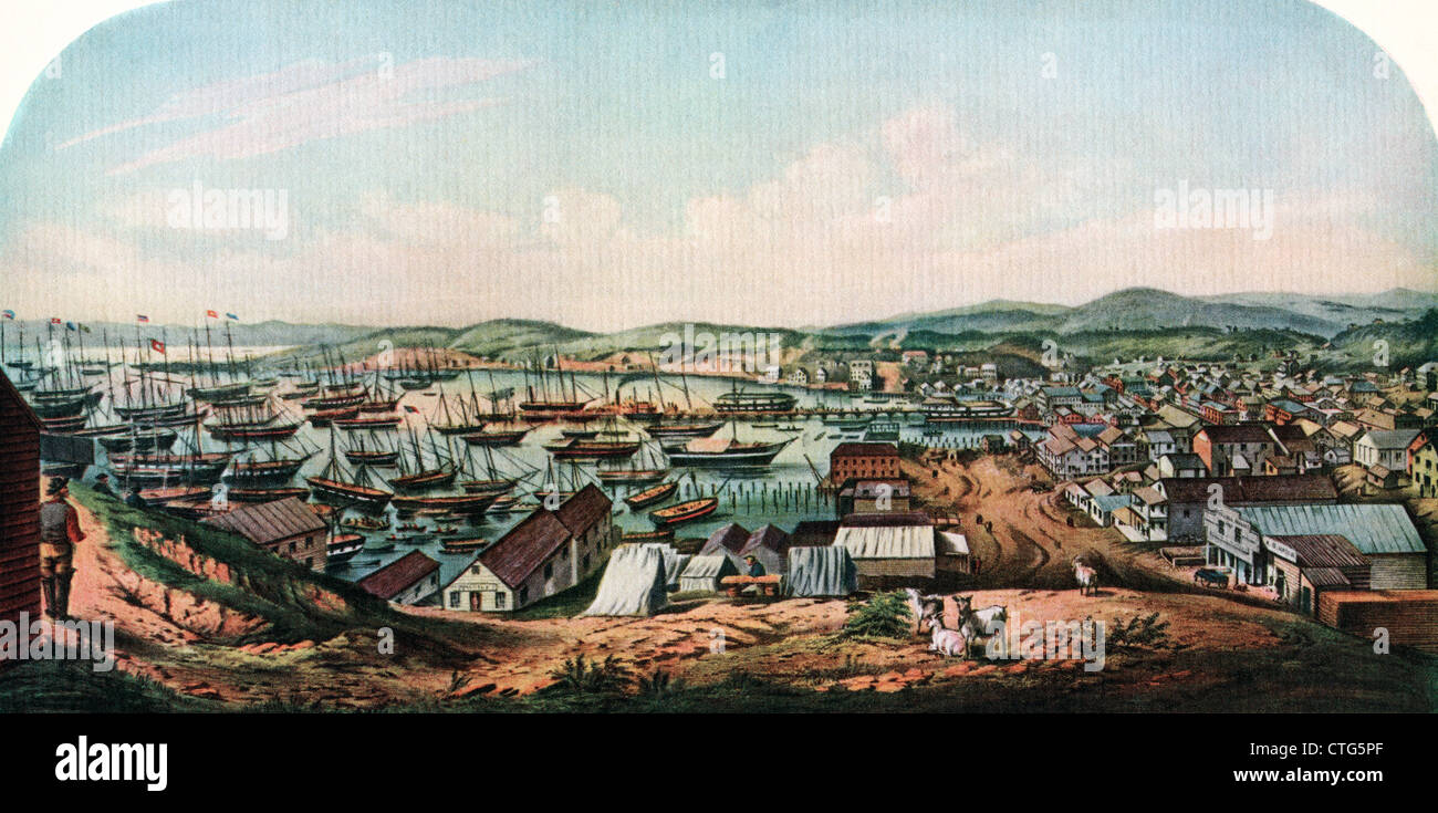 1800s 1850 VIEW OF SAN FRANCISO & PORT FROM TELEGRAPH HILL AFTER A SKETCH BY McMURTRIE - Stock Image
