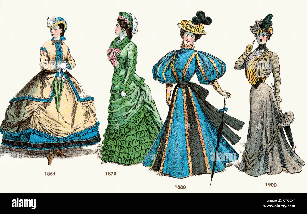 LATE VICTORIAN LADIES FASHION 19TH CENTURY FROM 1864 HOOP SKIRT 1870 BUSTLE 1880 BALLOON SLEEVE 1900 WASP WAIST - Stock Image