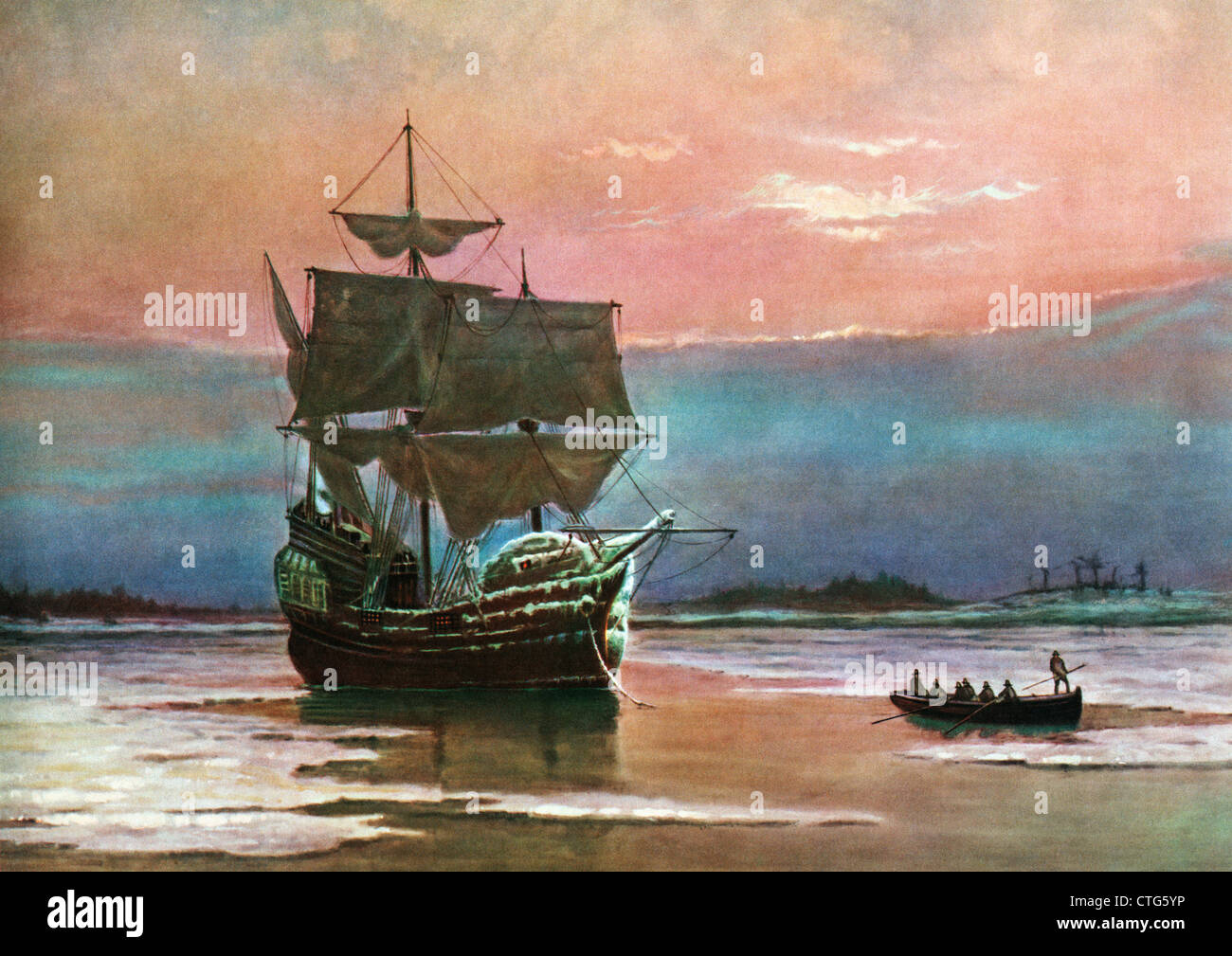PAINTING OF THE SHIP THE MAYFLOWER 1620 IN PLYMOUTH HARBOR BY WILLIAM HALSALL PILGRIMS TRANSPORT - Stock Image