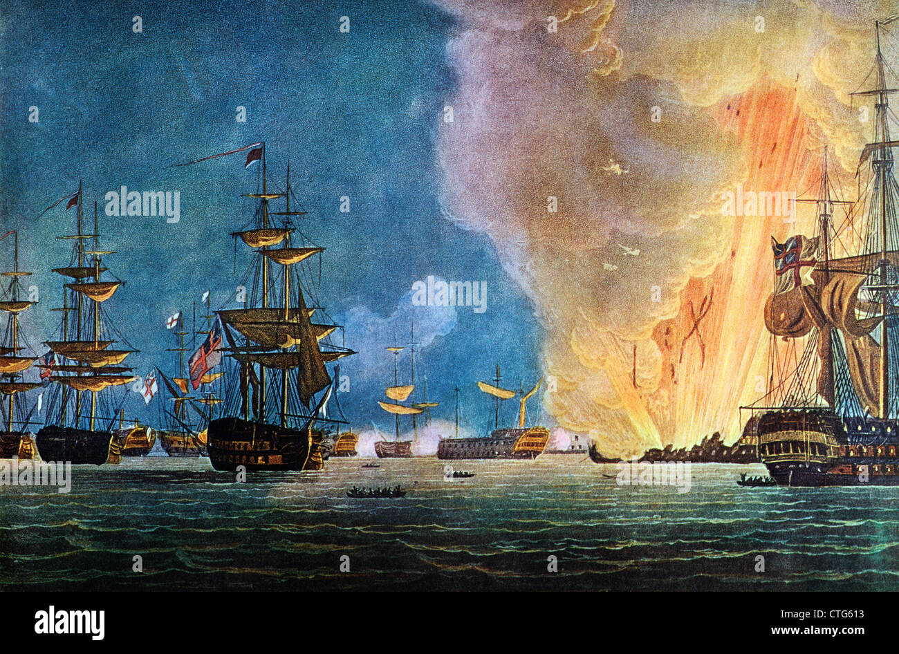 PAINTING OF THE BATTLE OF THE NILE AUGUST 1 1798 ADMIRAL HORATIO NELSON DEFEATED THE FRENCH FLEET ABOUKIR BAY - Stock Image