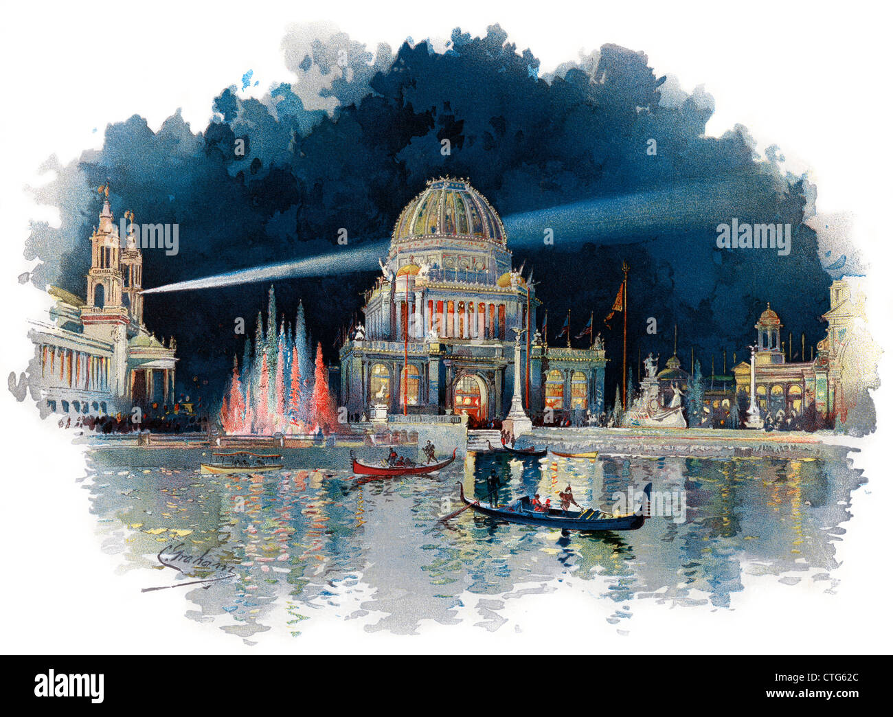 1890s NIGHT IN GRAND COURT OF WORLD COLUMBIAN EXPOSITION KNOWN AS CHICAGO WORLD'S FAIR BEAUX ARTS ARCHITECTURE - Stock Image