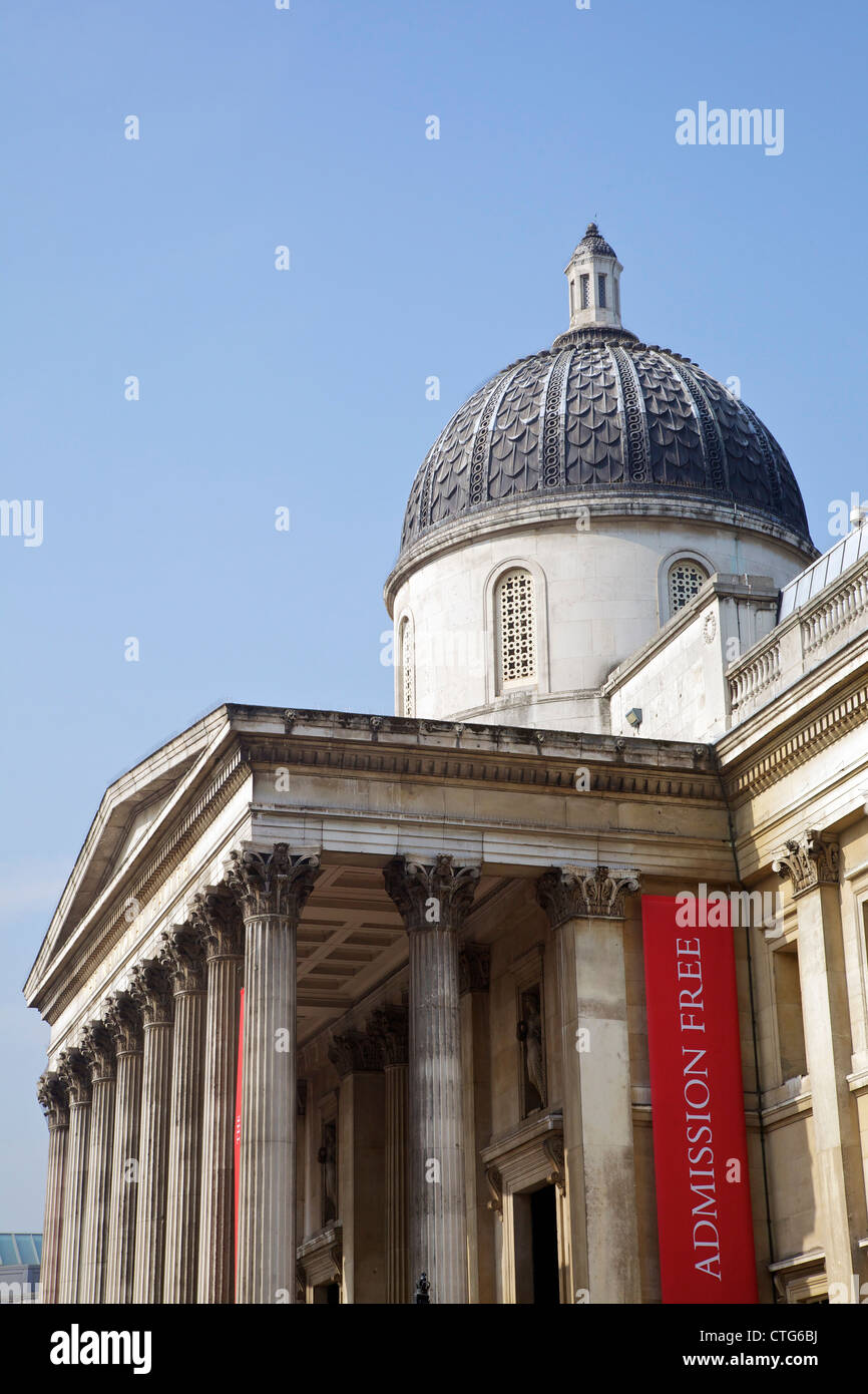 Free admission to the National Gallery, London, England, UK, United Kingdom, British Isles, GB, Great Britain, Europe - Stock Image