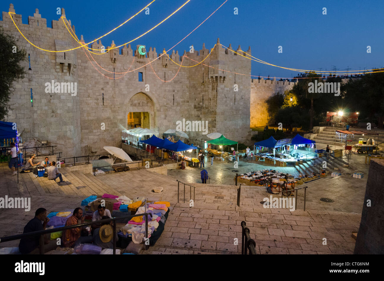 End of first day of Ramadan at Damascus gate inJerusalem. Israel - Stock Image