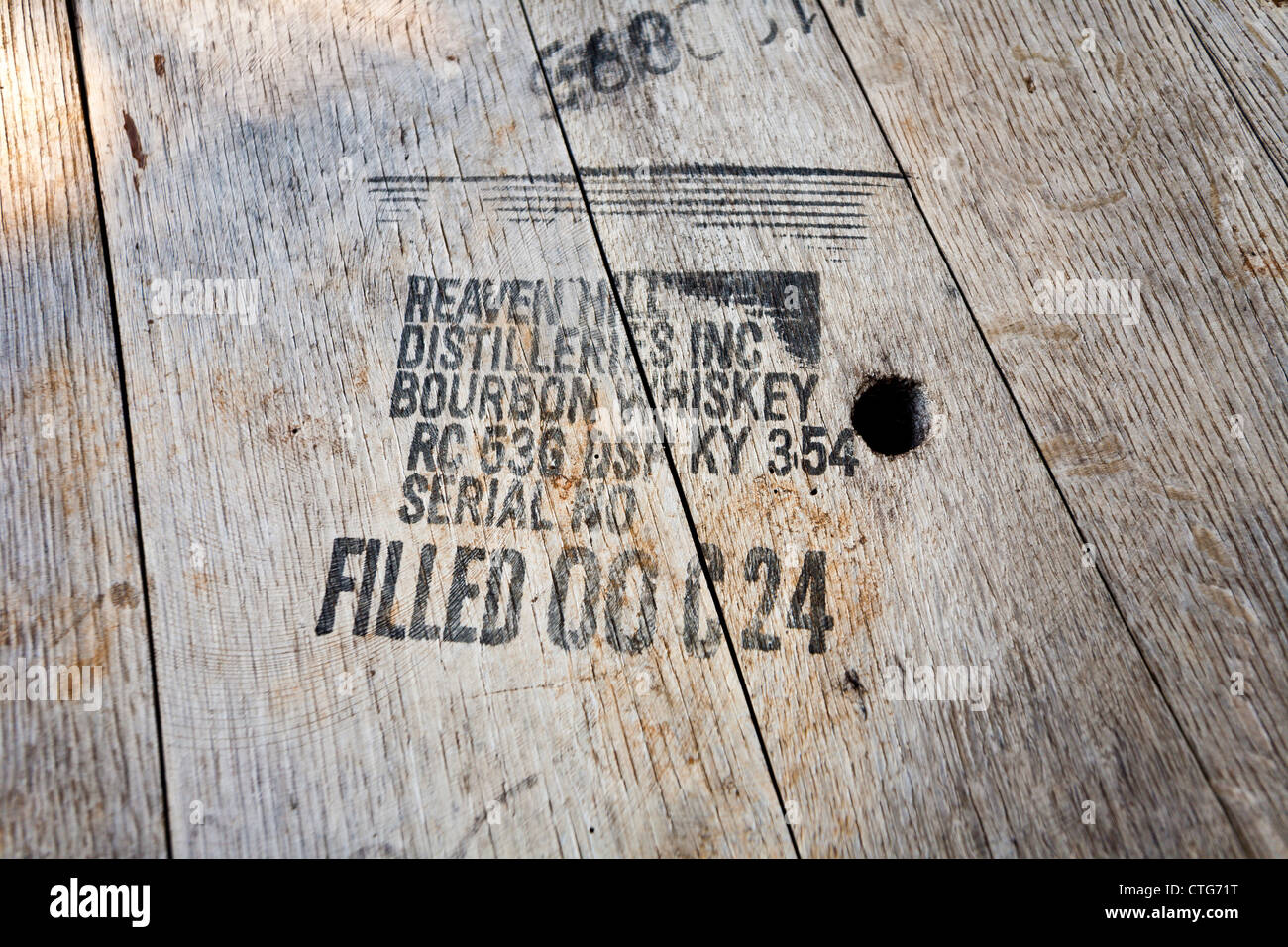 Wooden bourbon whiskey barrel top from Heaven Hill Distilleries - Stock Image