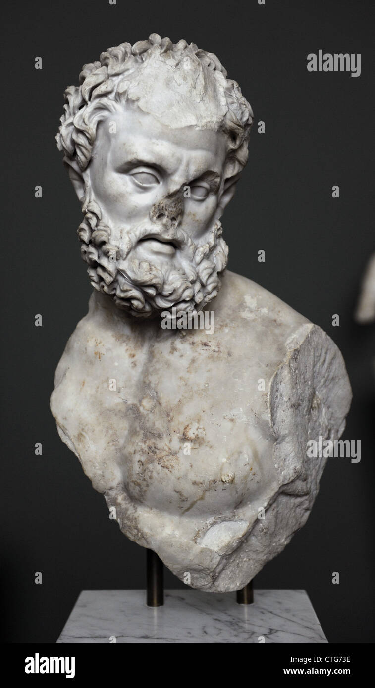 Roman Art. Heracles. 4th century. Marble. From The Esquiline, Rome. Carrara marble. Carlsberg Glyptotek Museum. Stock Photo