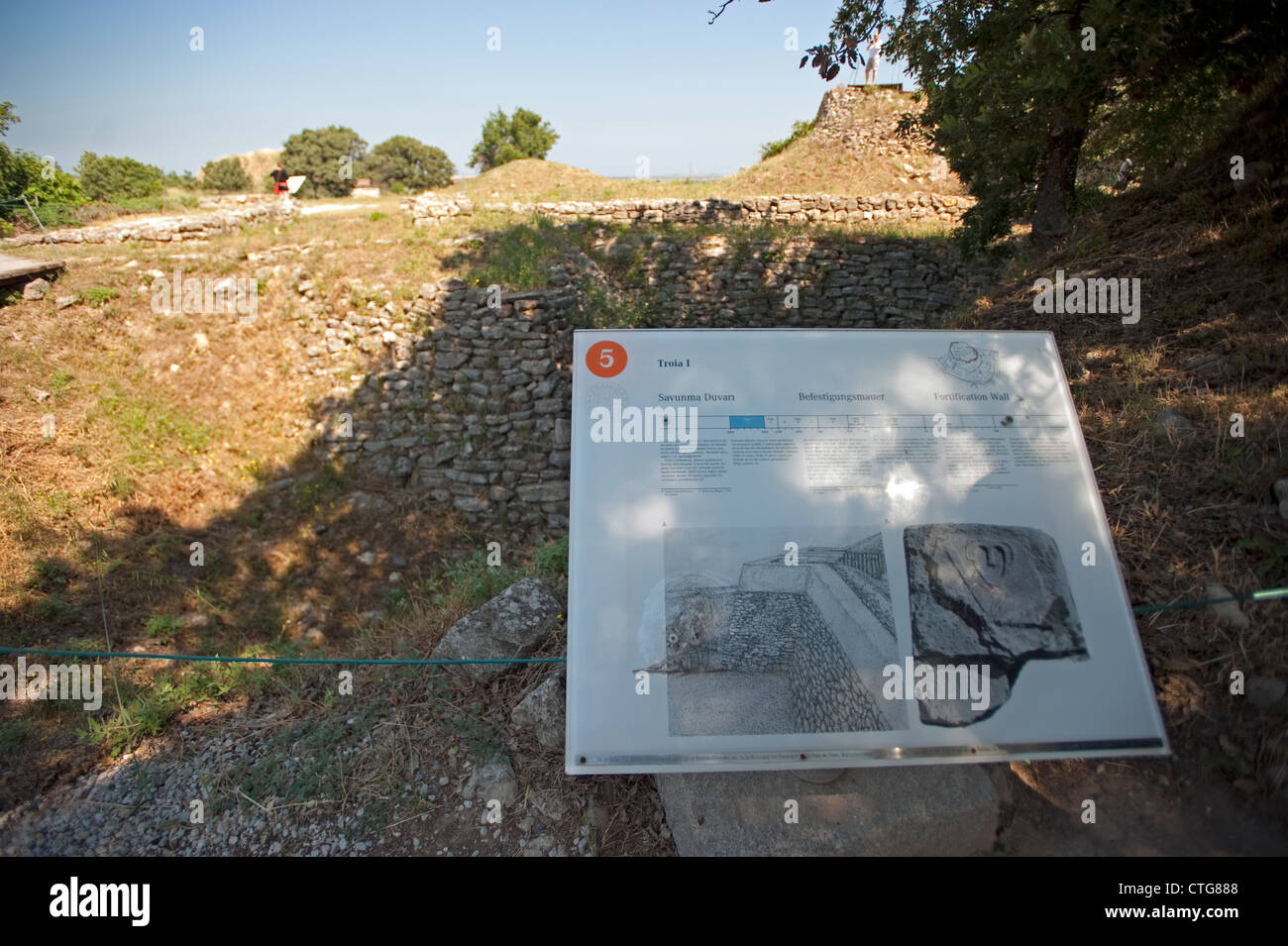 Fortification wall Troia I BC 3000 Troy Çanakkale Turkey - Stock Image