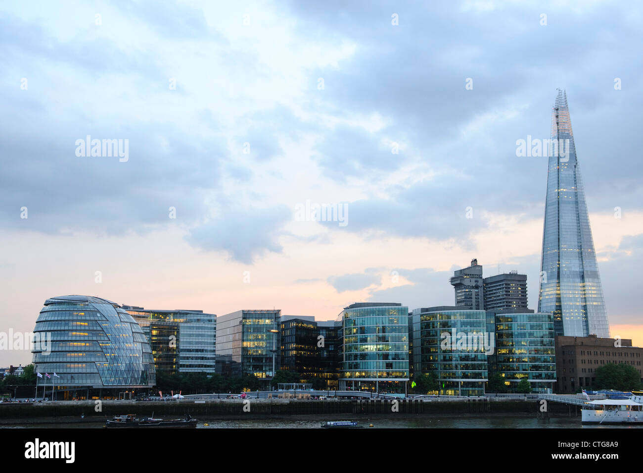 The Shard and London Assembly building with the London Skyline at Dusk 2012 - Image Copyright Ben Pruchnie 2012 - Stock Image