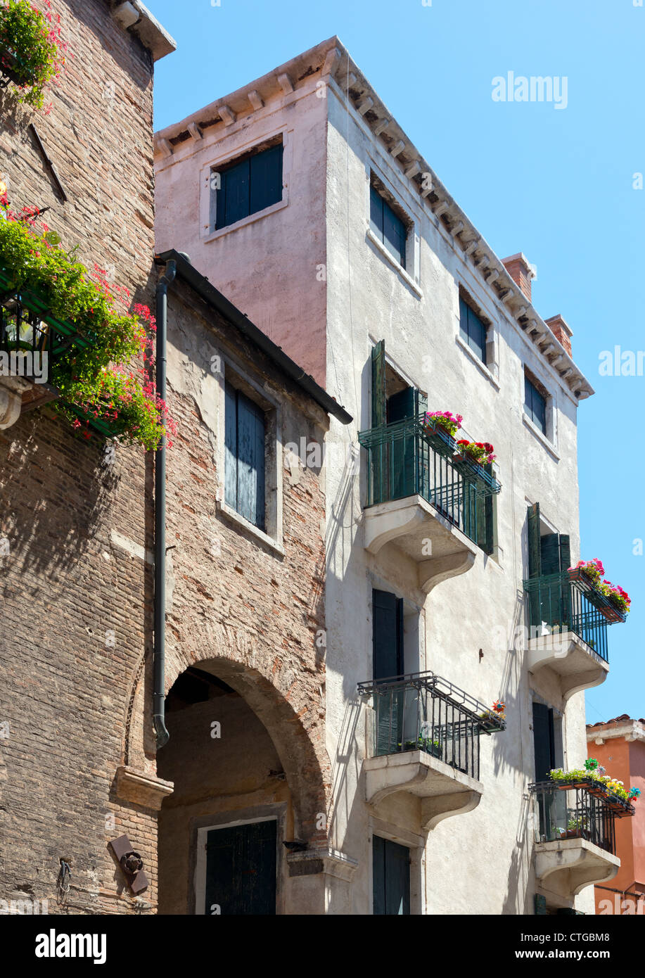 Side Canal off the Grand Canal Venice Italy Stock Photo