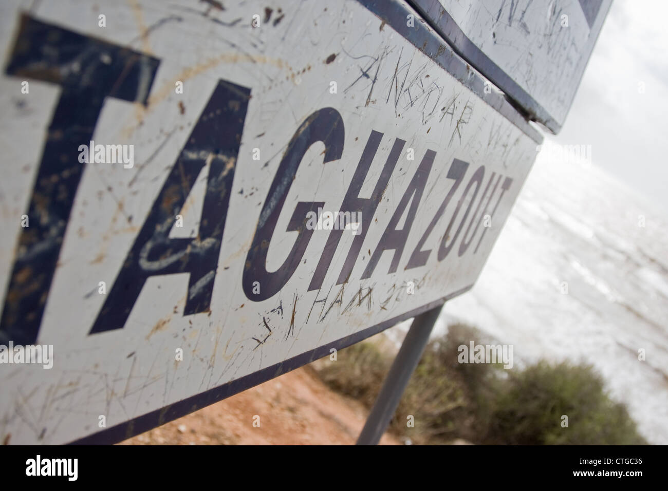 Taghazout road sign in Morocco - Stock Image