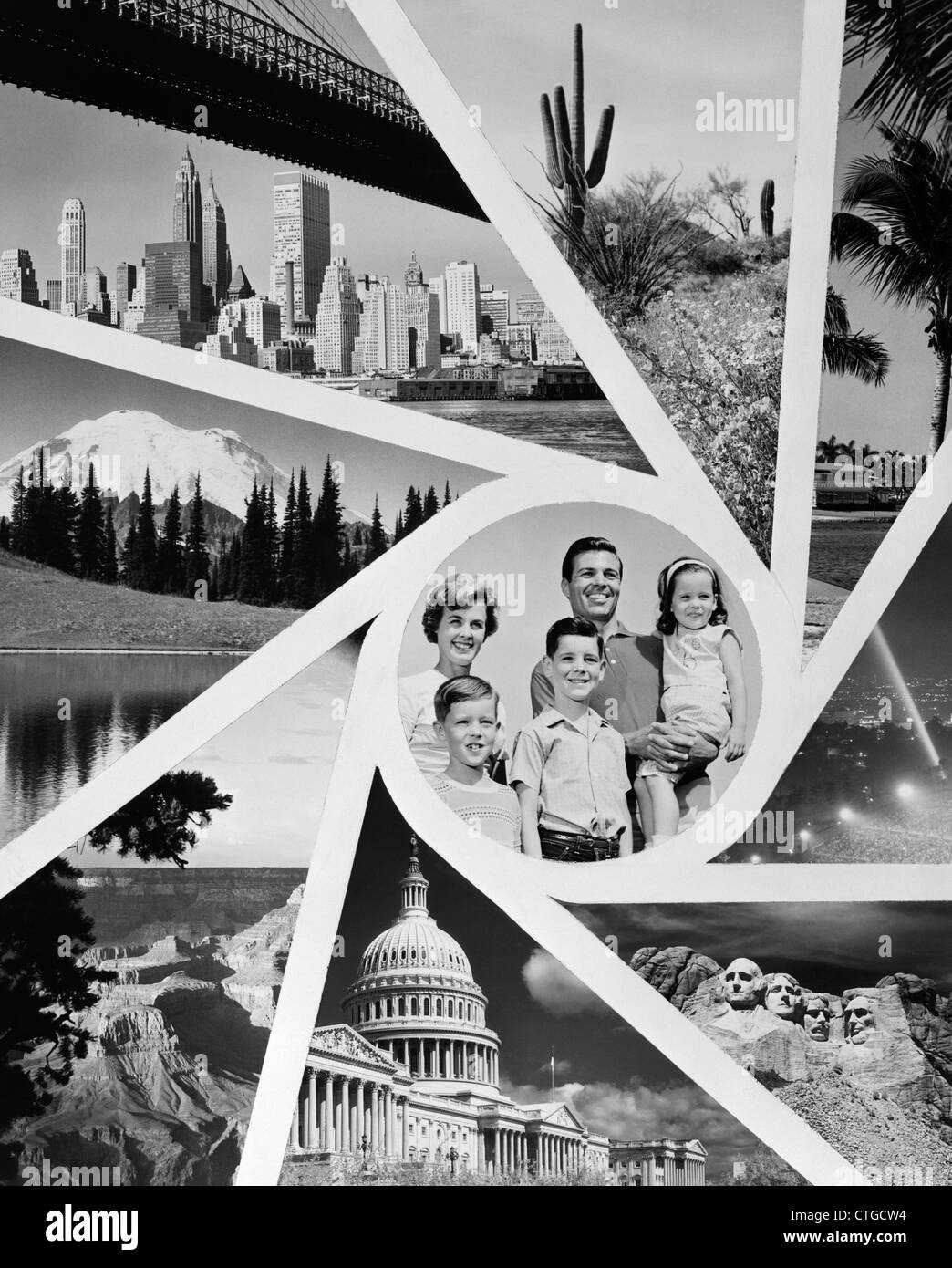 1960s MONTAGE PORTRAIT OF FAMILY MOTHER FATHER SON DAUGHTER IN SUN BURST PATTERN OF USA TRAVEL VACATION DESTINATIONS - Stock Image
