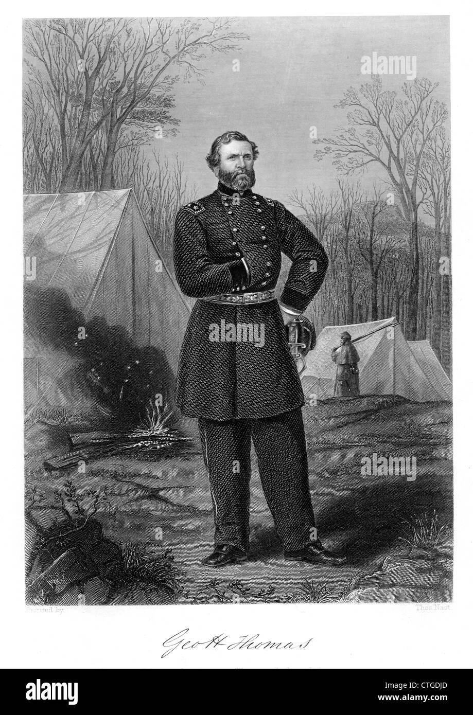 1800s 1860s PORTRAIT GEORGE THOMAS UNION GENERAL DURING AMERICAN CIVIL WAR NOTABLE VICTORY IN BATTLE OF NASHVILLE - Stock Image