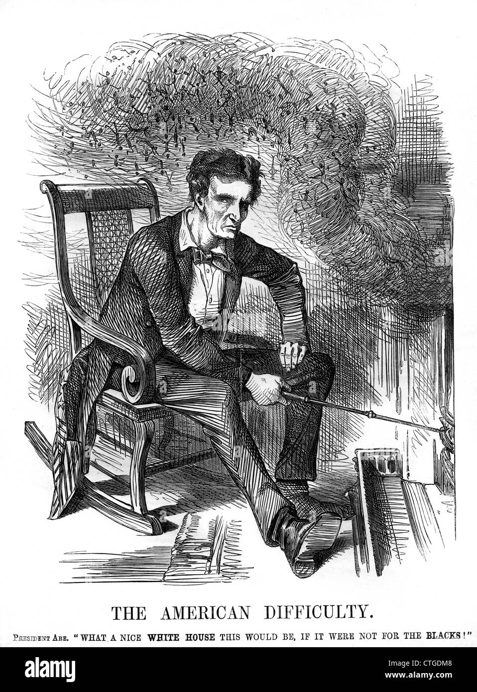 1860s 1861 PUNCH CARTOON ABRAHAM LINCOLN FIREPLACE SMOKE THE AMERICAN DIFFICULTY SLAVERY RELATED TO SMOKEY FIREPLACE - Stock Image