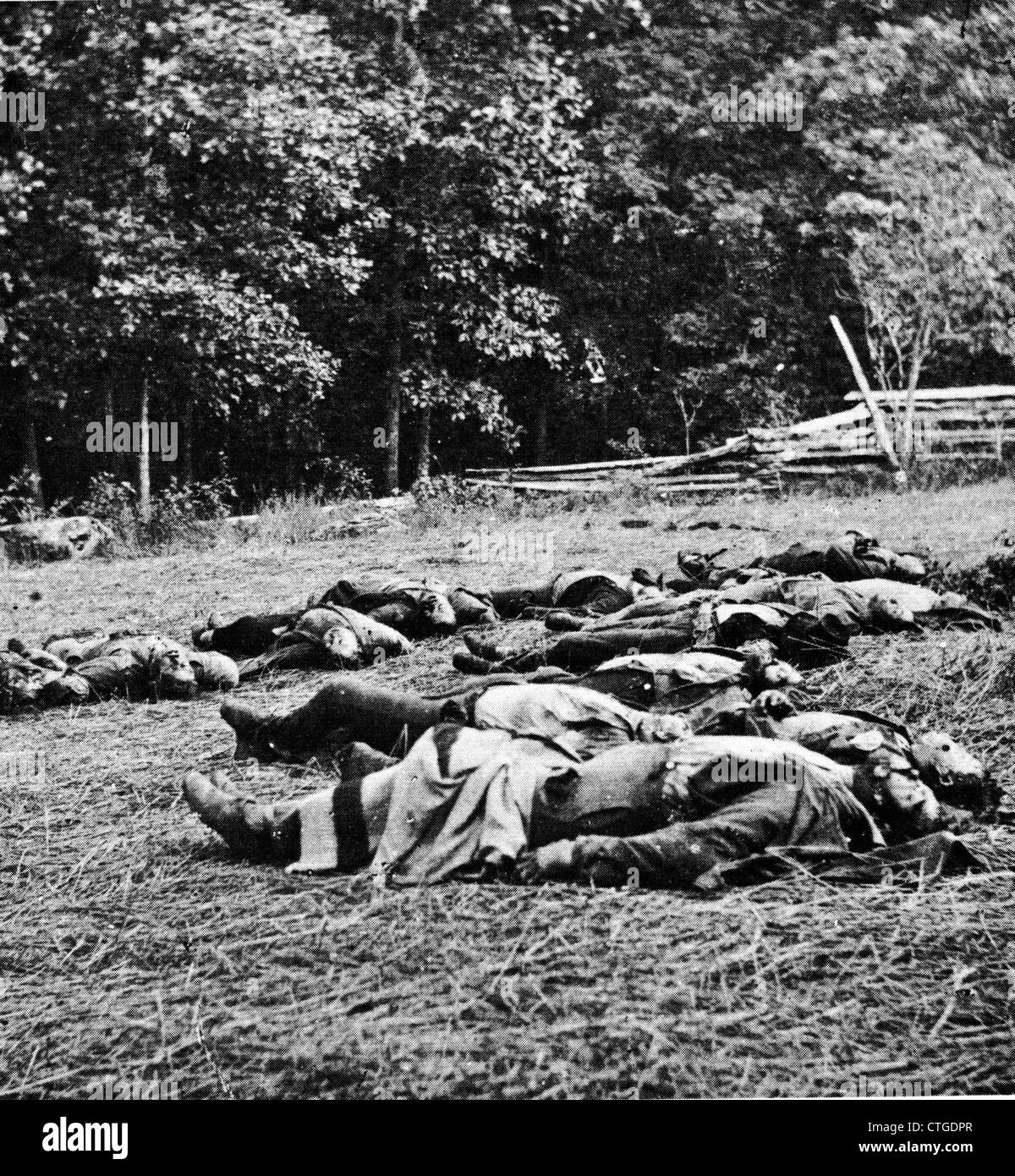 1860s JULY 1863 DEAD OF THE MICHIGAN INFANTRY REGIMENT ON THE BATTLEFIELD OF GETTYSBURG PA USA BY BRADY ASST. TIM - Stock Image