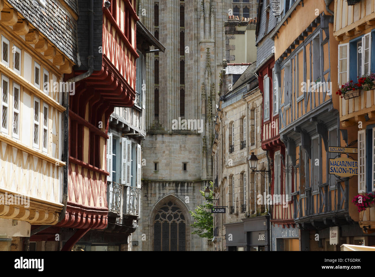 View down Rue Kereon towards the Cathedral of St Corentin, Quimper. Brittany. France. - Stock Image