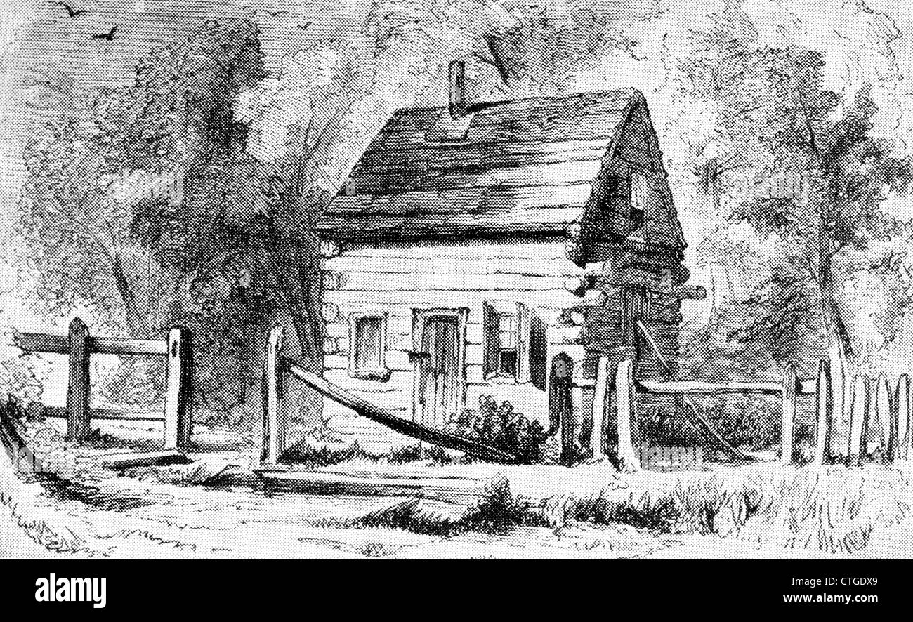 1800s 1850s THE LOG SCHOOLHOUSE IN MOUNTAINS USED BY JOHN BROWN AS AN ARSENAL - Stock Image