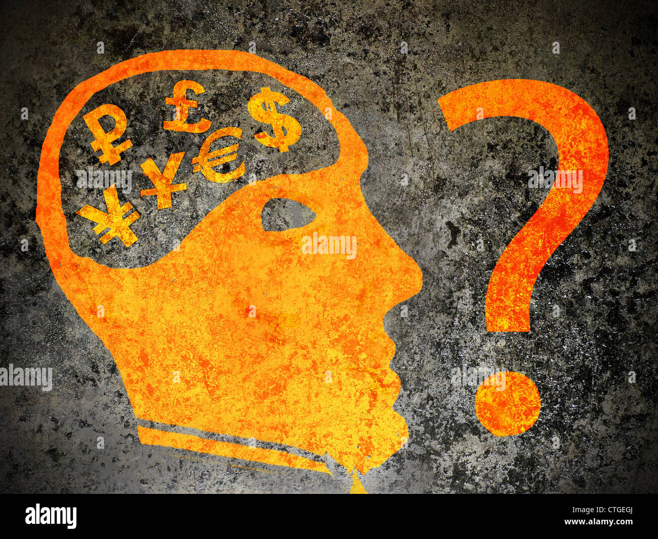 economy confusion concept orange on black illustration - Stock Image