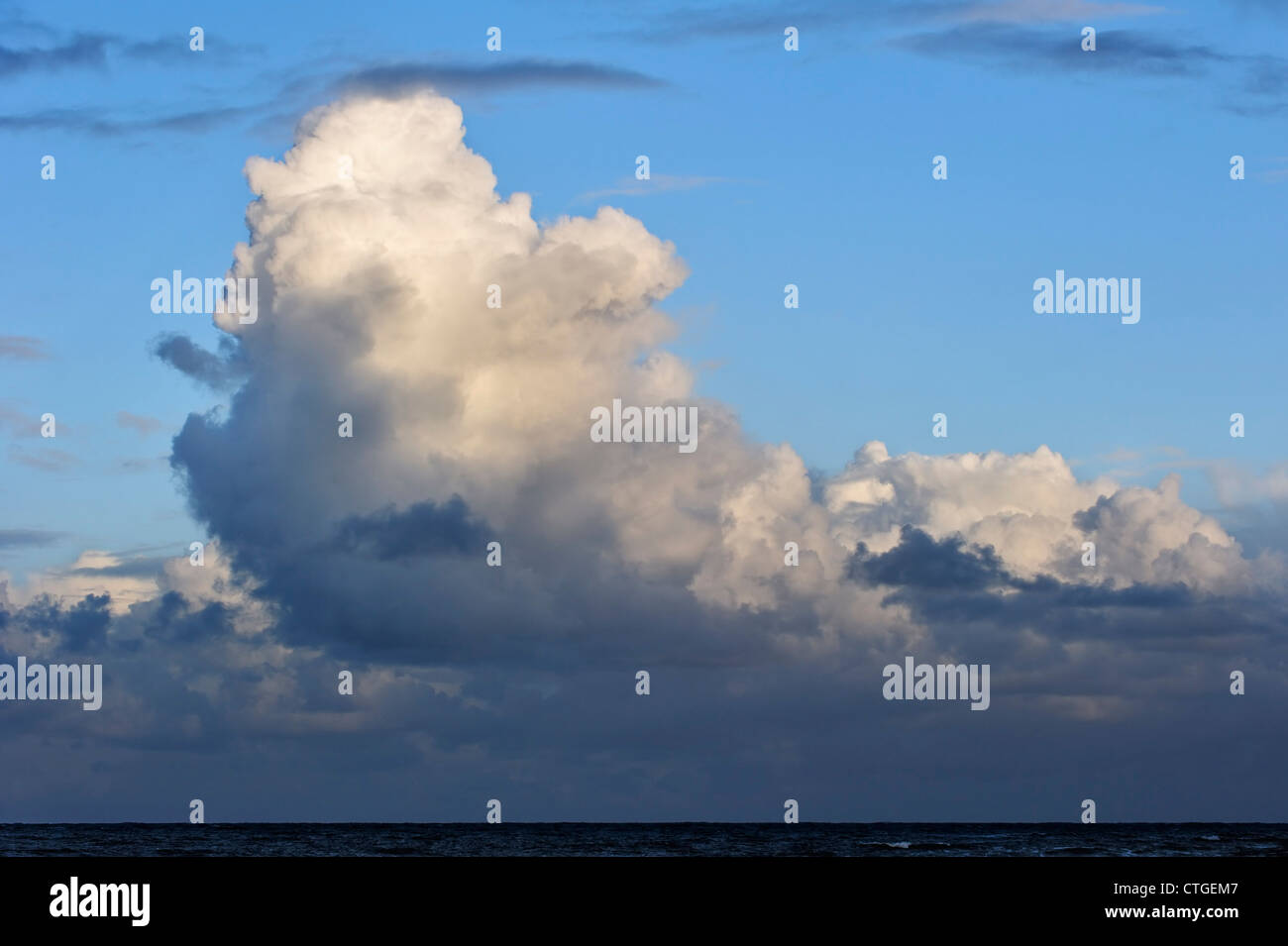 Cumulus congestus / towering cumulus clouds over the sea formed by the development of cumulus mediocris - Stock Image