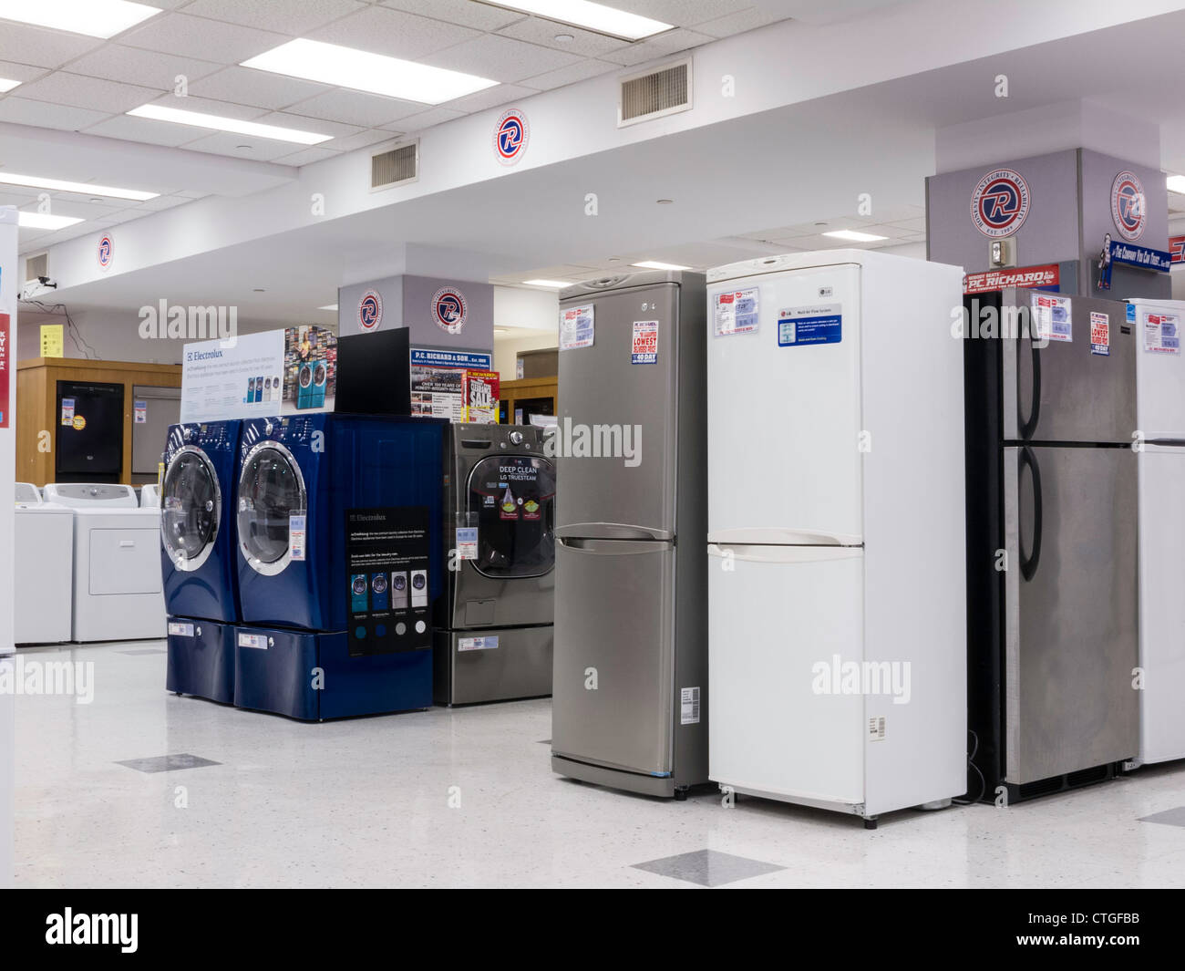 Household Appliances For Sale in Appliance Store Stock Photo ...