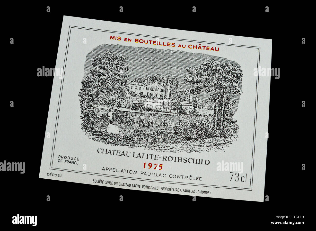 Chateau Lafite-Rothschild 1975 fine rare expensive luxury red wine bottle label Pauillac Medoc Gironde Bordeaux - Stock Image