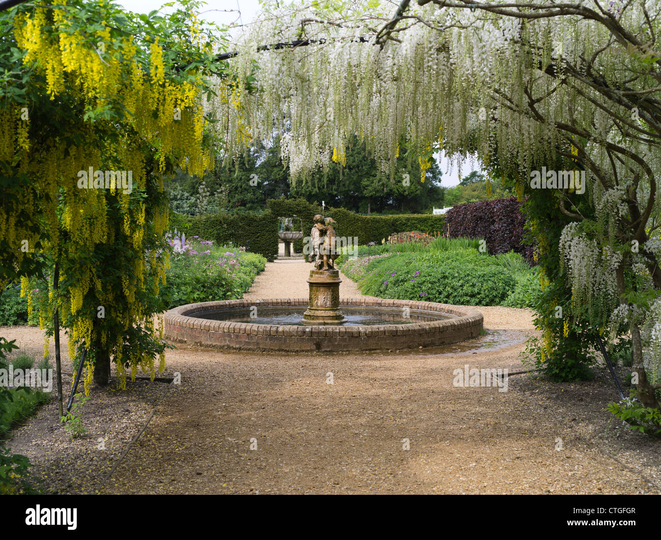 Captivating Dh Victorian Flower Garden BEAULIEU HAMPSHIRE Fountain Pond White And  Yellow Laburnum Flower Arch