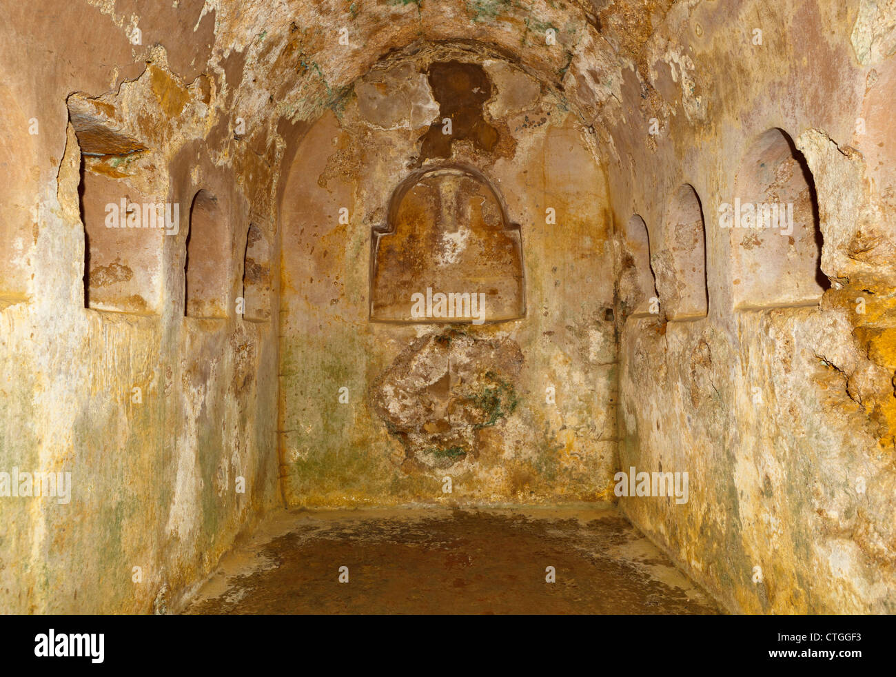 Underground chamber beneath the circular mausoleum in the Roman necropolis, Carmona, Seville Province, Spain. - Stock Image