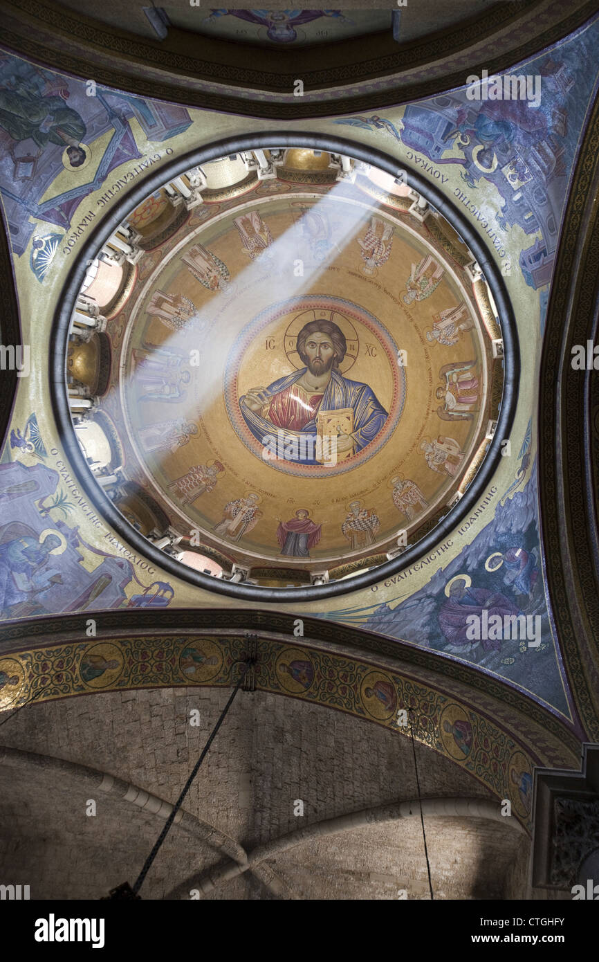 Christ Pantocrator mosaic in a dome of the Church of the Holy Sepulchre, Jerusalem, Israel - Stock Image