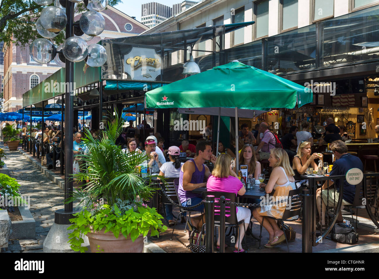 The terrace of Cheers bar, Quincy market in historic downtown Boston, Massachusetts, USA - Stock Image