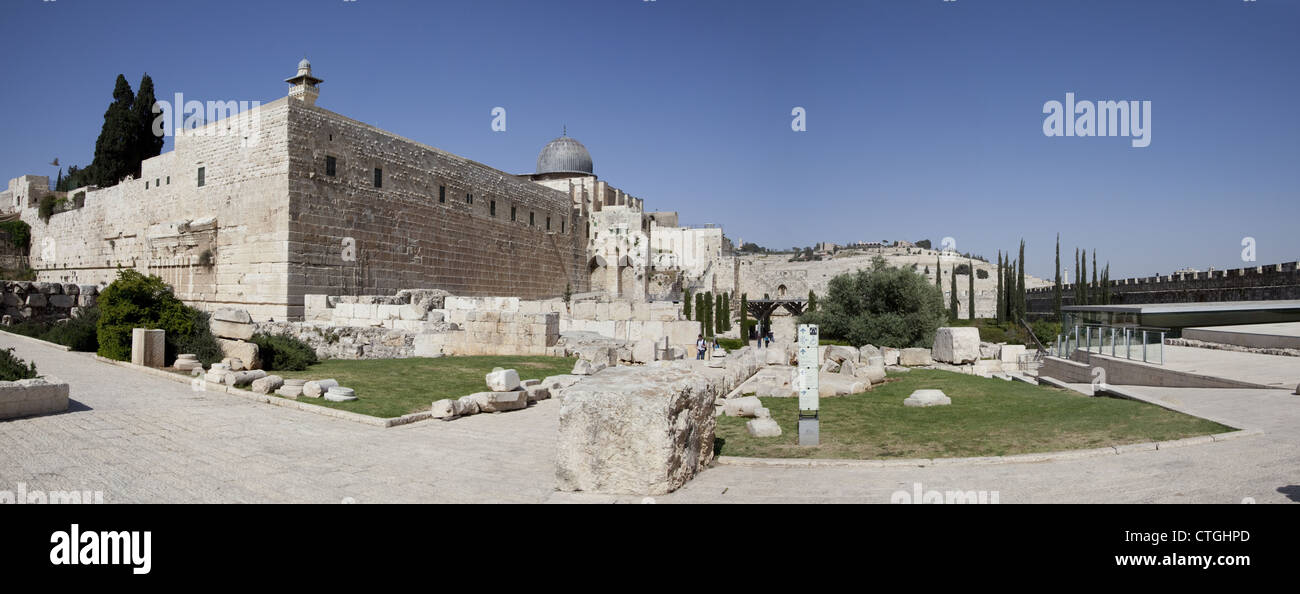 Panoramic View showing the Temple Mount in the Old City of Jerusalem - Stock Image