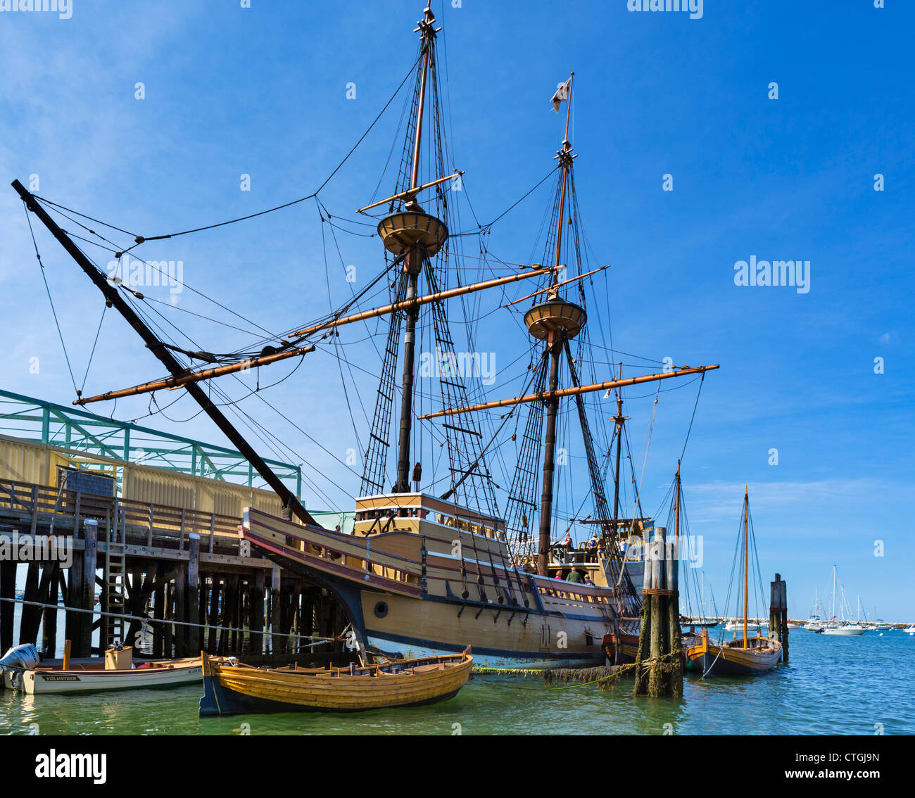 The Mayflower II, a replica of the original Mayflower, State Pier, Plymouth, Massachusetts, USA - Stock Image