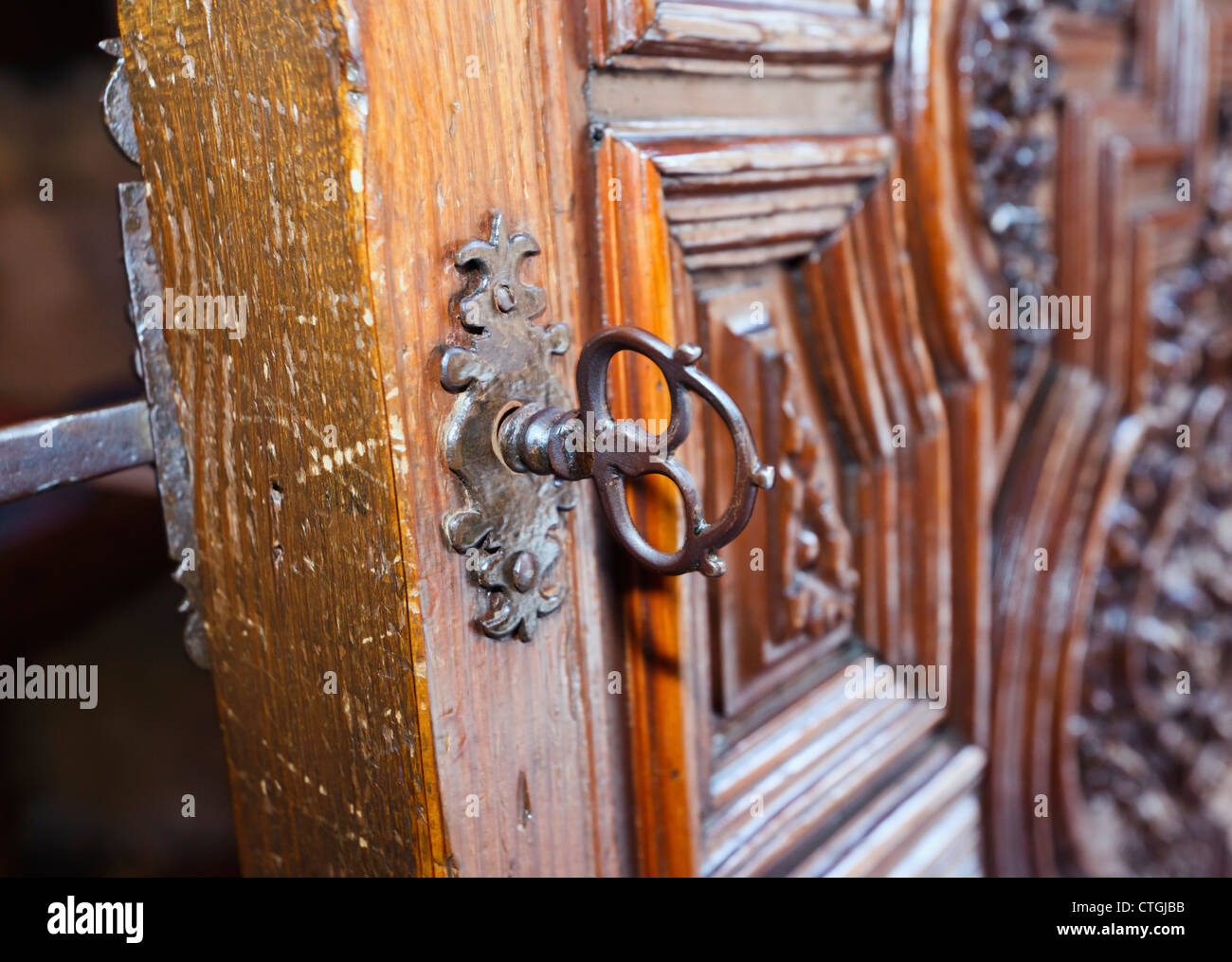 Carmona, Seville Province, Spain. Ancient door and lock in the Prioral de Santa Maria. Priory of Santa Maria. - Stock Image