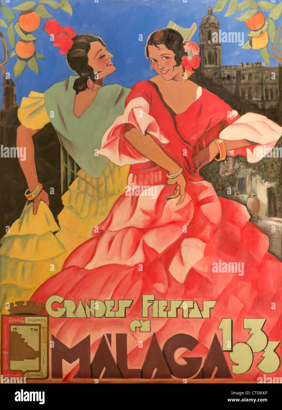 Poster advertising Grandes Fiestas de Malaga 1933. - Stock Image