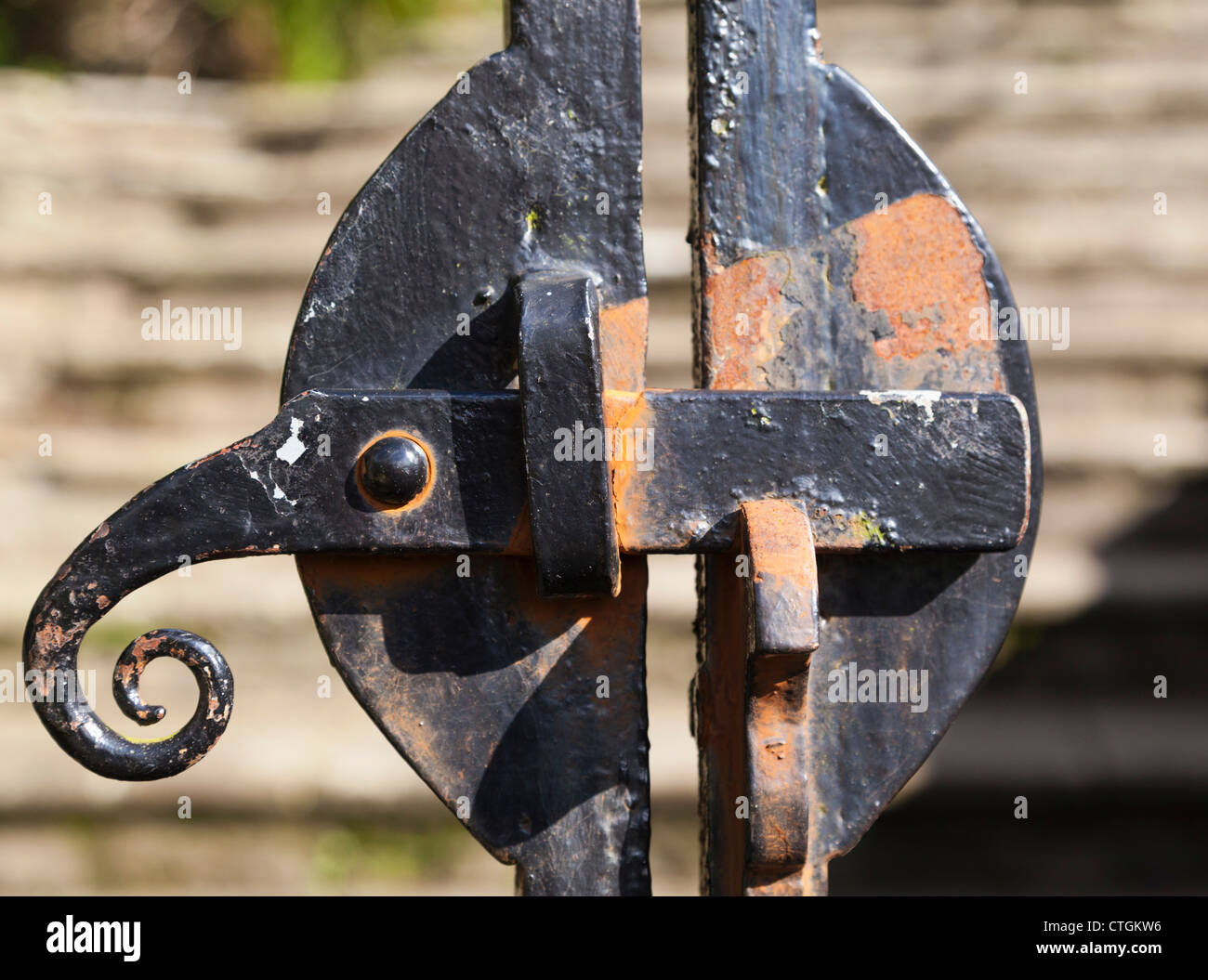 Castletownshend, West Cork, Ireland. Latch on gate of St. Barrahane's church. - Stock Image