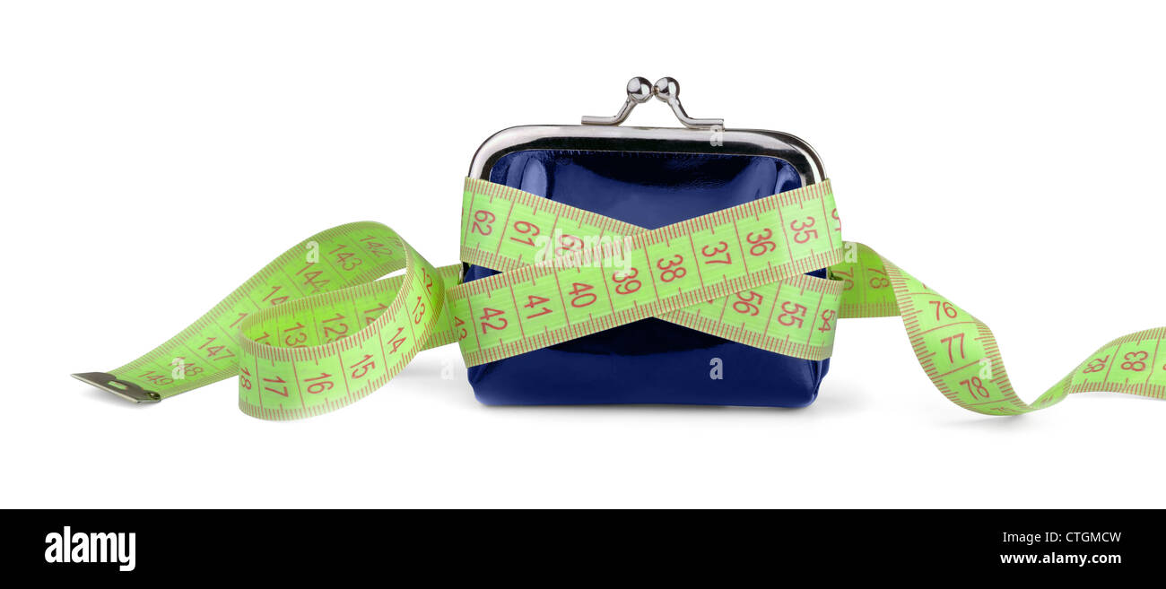 Coin purse with measuring tape isolated on white - Stock Image