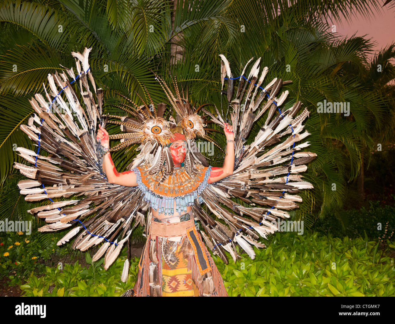 Owl Dancer, representing the creature the Maya revered as a Wise Counselor. Riviera Maya, Yucatan, Mexico. - Stock Image