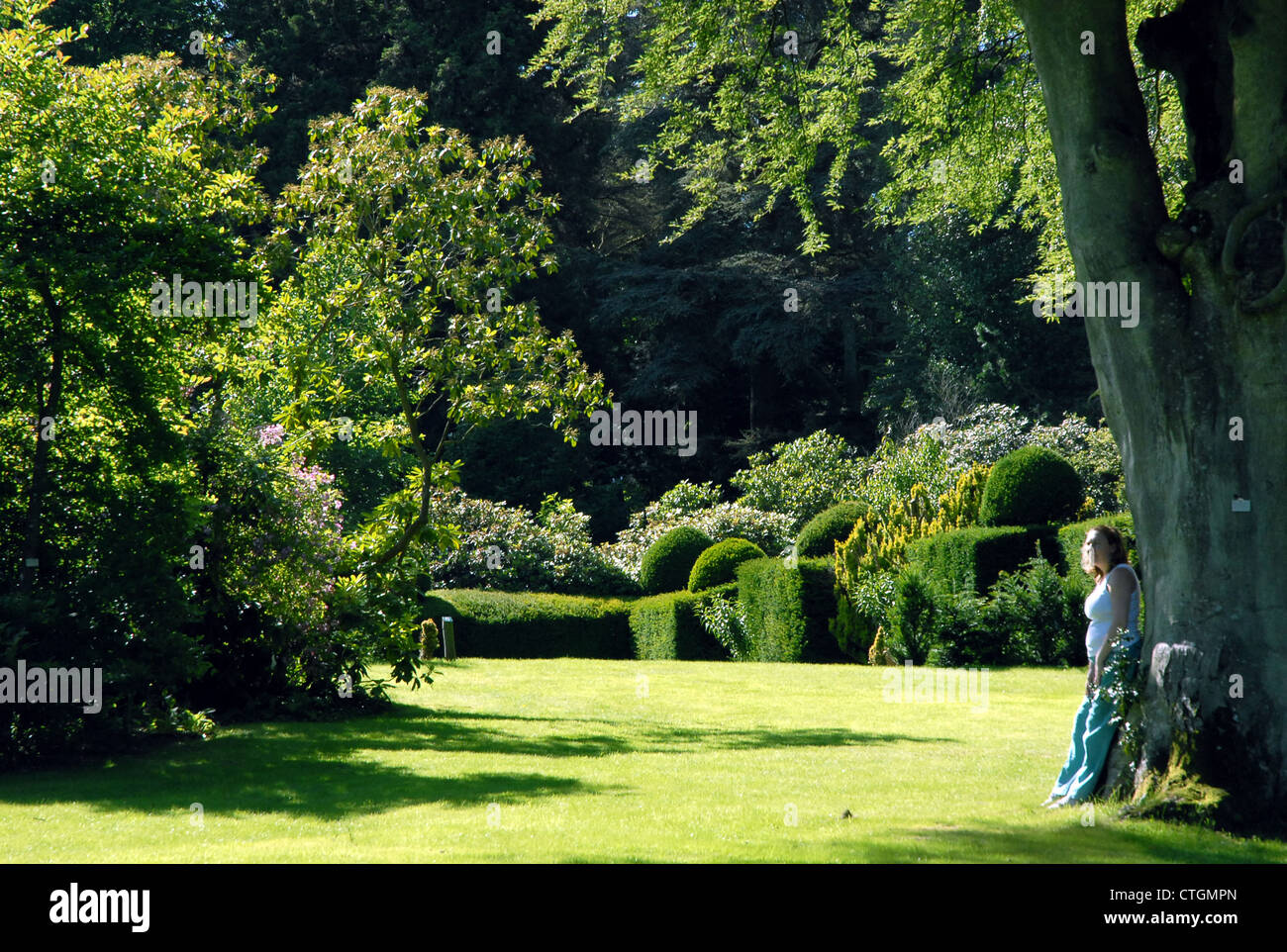 A woman enjoys the beautifull surroundings at Hergest Croft Gardens in Kington, Herefordshire. - Stock Image