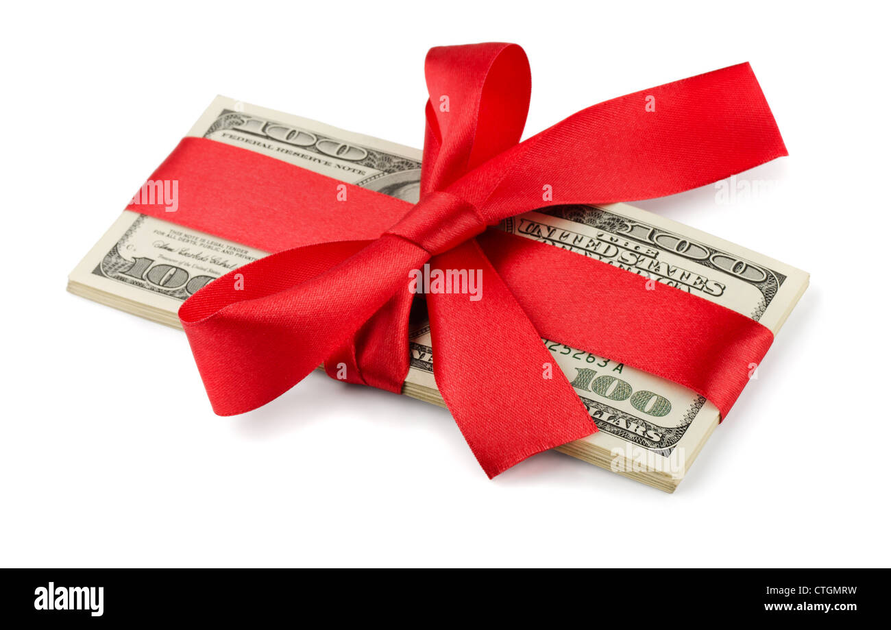 Bundle of US dollars tied with red ribbon isolated on white - Stock Image