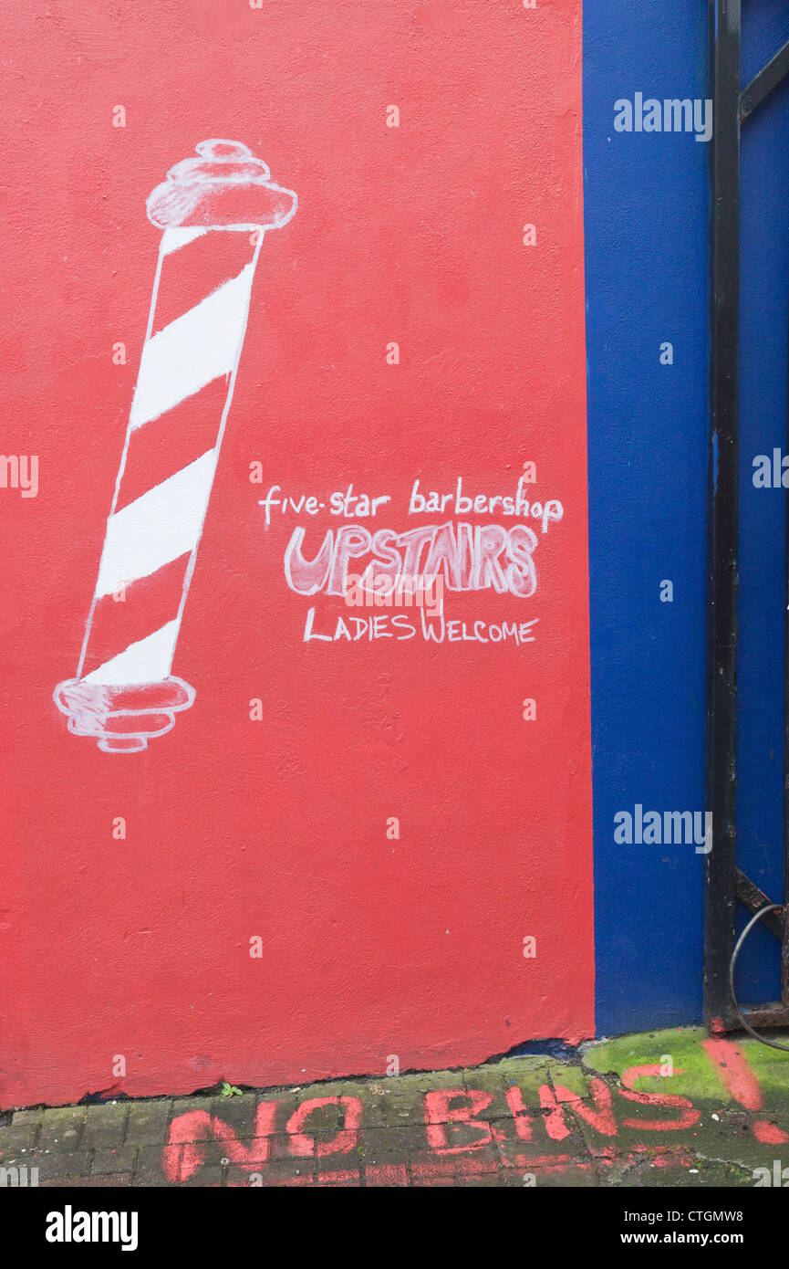 Killarney, County Kerry, Ireland. Hand painted sign for Five Star Barbershop. - Stock Image