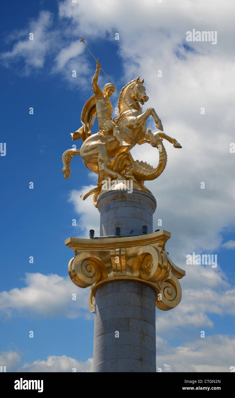 Gold monument to Saint George. Tbilisi. Georgia. - Stock Image