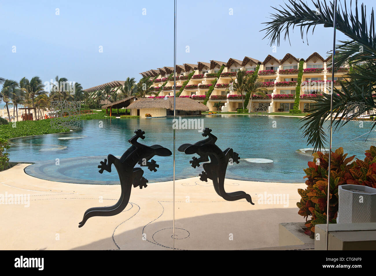 View from diningroom with signature lizard door handles of swimming ...