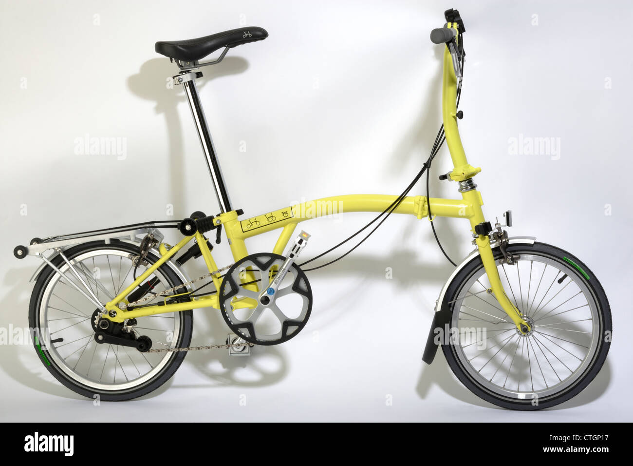 Brompton fold up bicycle - Stock Image